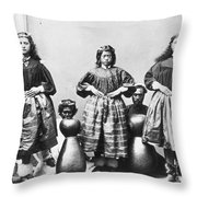 Hula Dancers, C1875 Throw Pillow