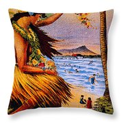 Hula Flower Girl 1915 Throw Pillow
