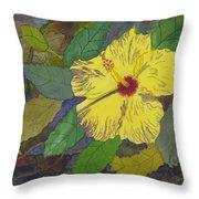 Hula Girl Hibiscus Throw Pillow