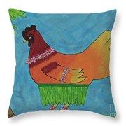 Hula Hen Throw Pillow