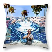 Hula Hoop Woman Throw Pillow
