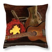 Hula Implements Throw Pillow by Larry Geyrozaga