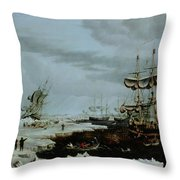 Hull Whalers In The Arctic  Throw Pillow by Thomas A Binks