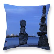 Human Figures Made From Stones At Night Throw Pillow