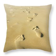 Human Footsteps In The Sand Throw Pillow