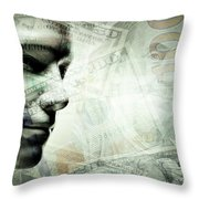 Human Man Face And Dollars Double Exposure. Throw Pillow