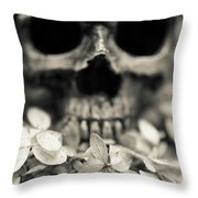 Human Skull Among Flowers Throw Pillow