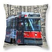 Humber Bound Streetcar On Queen Street Throw Pillow