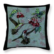 Hummers And Fuchsia Throw Pillow