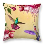 Humming Birds And Fuchsia-jp2784 Throw Pillow