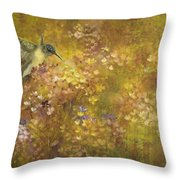 Hummingbird And Hydrangeas Throw Pillow