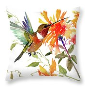 Hummingbird And Orange Flowers Throw Pillow