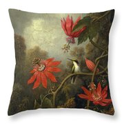 Hummingbird And Passionflowers Throw Pillow