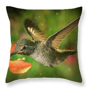 Hummingbird And The Monkey Flowers Throw Pillow