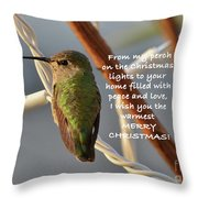 Hummingbird Christmas Card Throw Pillow