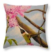 Hummingbird Feeding On Lilac Throw Pillow