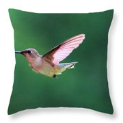 Hummingbird Flickering Its Tongue Throw Pillow