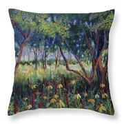 Hummingbird Gardens Throw Pillow
