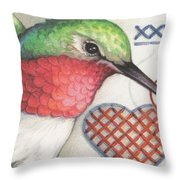 Hummingbird Handiwork Throw Pillow