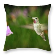 Hummingbird Hovering In Rain Throw Pillow