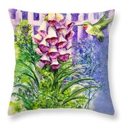 Hummingbird In Foxgloves  Throw Pillow