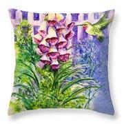 Hummingbird In Foxgloves  Throw Pillow