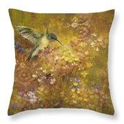 Hummingbird In Hydrangeas Throw Pillow