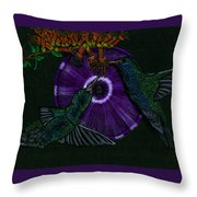 Hummingbird Morning Glory Throw Pillow