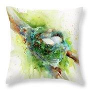 Hummingbird Nest Throw Pillow
