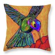 Hummingbird On Yellow Throw Pillow