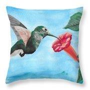 Hummingbird Trumpet Throw Pillow