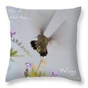 Hummingbird Wings Throw Pillow