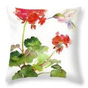 Hummingbird With Geranium Throw Pillow