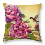 Hummingbird With Rhododendron Throw Pillow