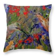 Hummingbirds 2, Abstract Art Throw Pillow