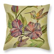 Hummingbirds And Hibiscus Throw Pillow