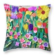 Hummingbird's Delight By Mary Ellen Palmeri Throw Pillow