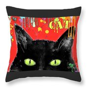 humorous Black cat painting Throw Pillow