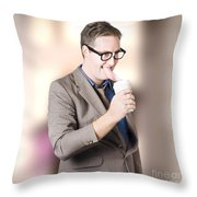 Humorous Businessman Licking Top Of Coffee Cup Throw Pillow