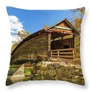 Humpback Covered Bridge In Autumn Colors Throw Pillow