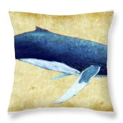 Humpback Whale Painting - Framed Throw Pillow