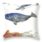 Humpback Whale, Right Whale And Squid Throw Pillow