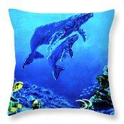Humpback Whales Hawaii An Reef #14 Throw Pillow