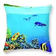 Humpback Whales, Reef Fish #252 Throw Pillow
