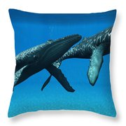 Humpback Whales Surfacing Throw Pillow
