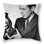 Humphrey Bogart Holding Falcon The Maltese Falcon 1941  Throw Pillow