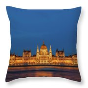 Hungarian Parliament Building At Night In Budapest Throw Pillow