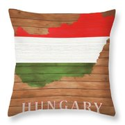 Hungary Rustic Map On Wood Throw Pillow