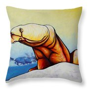 Hunger Burns - Polar Bear And Caribou Throw Pillow