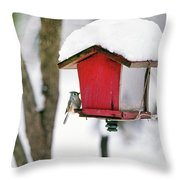 A Hungry Chickadee Throw Pillow